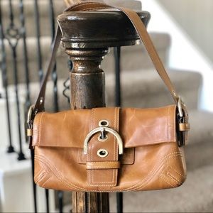 Vintage Coach Tan Saddle Leather Shoulder Bag